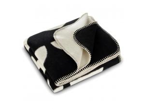 BIO Cotton blanket - BLACK & NATURAL