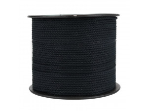 Cotton braided cord - BLACK - 1,5 mm, bobbin 100 m or 500 m