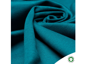 BIO Cotton ribbed jersey, double-sided, JADE BLUE, 240 g / m2, width 145 cm
