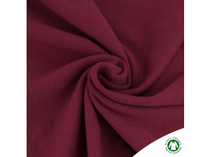 BIO Cotton Ripp jersey, BORDEAUX RED -  width 145 cm, weight 240 g/m2