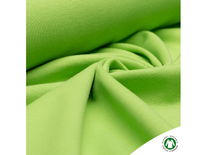BIO Cotton ribbed jersey, double-sided, APPLE GREEN, 240 g / m2, width 145 cm