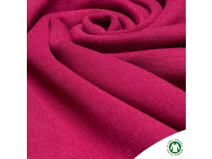 BIO Cotton ribbed jersey, double-sided, INTENSIVE PINK, 240 g / m2, width 145 cm