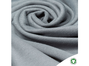 BIO Cotton ribbed jersey, double-sided, GREY, 240 g / m2, width 145 cm