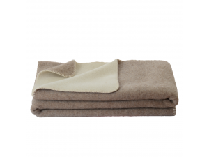 BIO Doubleface sheep wool blanket, Velour - BEIGE / CREME