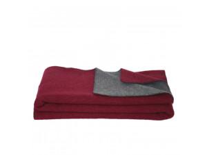 BIO Doubleface sheep wool blanket, Velour - DARK RED / DARK GREY