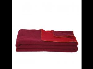 BIO Doubleface sheep wool blanket, Velour - DARK RED / RED