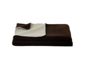 BIO Children´s sheep wool blanket, Doubleface, Velour - DARK BROWN / CREME