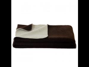 BIO Doubleface sheep wool blanket, Velour - DARK BROWN / CREME