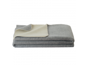 BIO Doubleface sheep wool blanket, Velour - LIGHT GREY / CREME
