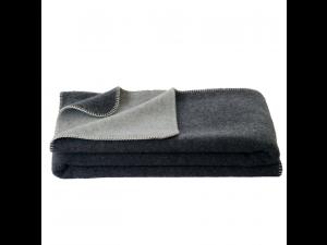 BIO Doubleface sheep wool blanket, Velour - DARK GREY / LIGHT GREY