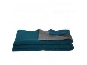 BIO Doubleface sheep wool blanket, Velour - DARK GREEN / DARK GREY