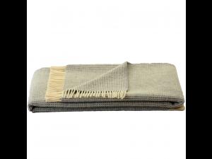 Sheep wool blanket - LIGHT GREY & CREME Waffel