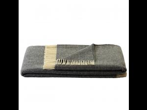 Sheep wool blanket - DARK GREY & CREME Waffel