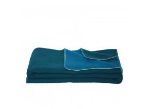 BIO Doubleface sheep wool blanket, Velour - DARK GREEN / PETROL GREEN