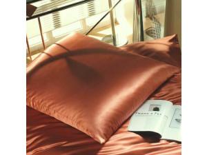 Silk fitted sheet, Lighter silk - TERRACOTTA BROWN / 22 momme (mm)
