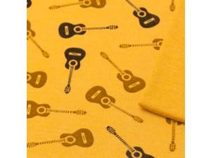 ECO Merino Silk jersey - YELLOW Printed, 180 g / m2, width 150 cm