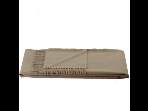 Cashmere blanket with fringe - NATURAL