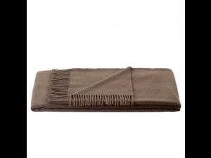 Cashmere blanket with fringe - BROWN
