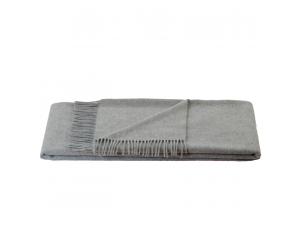 Cashmere blanket with fringe - LIGHT GREY