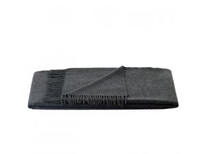 Cashmere blanket with fringe - DARK GREY