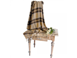 Cashmere lambswool blanket with fringe - BEIGE CHECKERED