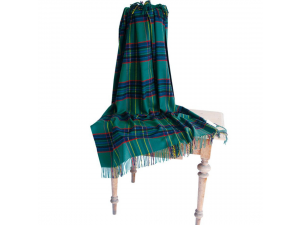 Cashmere lambswool blanket with fringe - GREEN CHECKERED