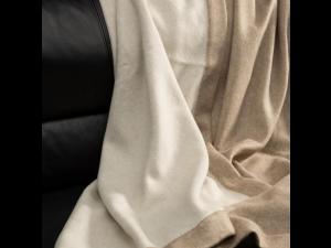Doubleface cashmere lambswool blanket -  BEIGE / NATURAL