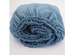 Linen fitted sheet - BLUE