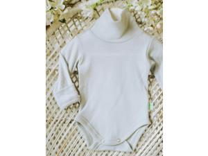 ECO Merino children's body high neck shirt - NATURAL -  size 56 to 104