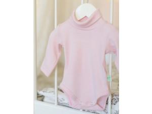 ECO Merino children's body high neck shirt - PINK -  size 56 to 104