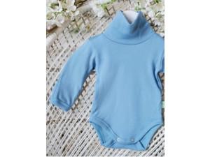 ECO Merino children's body high neck shirt - LIGHT BLUE -  size 56 to 104