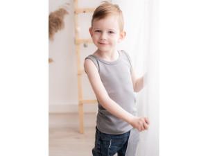 BIO Merino children's shirt sleeveless - GREY -  size 122 to 152