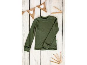 BIO Merino children's shirt - GREEN -  size 122 to 152