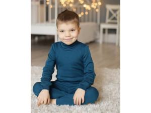 ECO Merino children's high neck shirt - BLUE - size 122 to 152