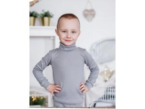 ECO Merino children's high neck shirt - GREY - size 122 to 152