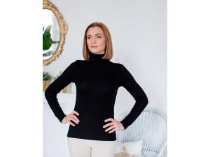 BIO Merino Women's Polo neck - BLACK