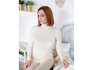 BIO Merino Silk Women's High neck shirt - NATURAL
