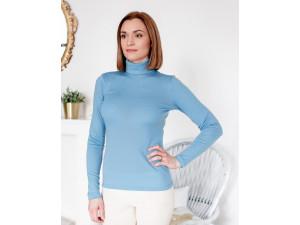 BIO Merino Women's Polo neck - LIGHT BLUE