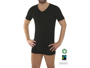 BIO Cotton Men's shirt, short sleeve - BLACK