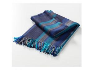 Baba Alpaca blanket with fringe - BLUE Stripes