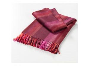 Baba Alpaca blanket with fringe - RED Stripes