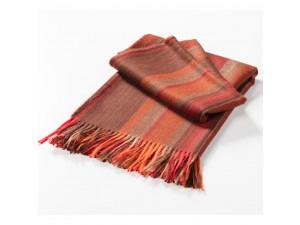 Baba Alpaca blanket with fringe - ORANGE Stripes