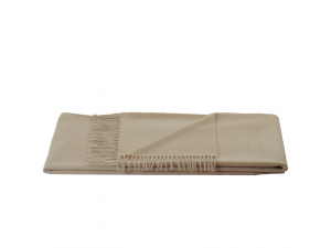 Cashmere lambswool blanket with fringe - CREME