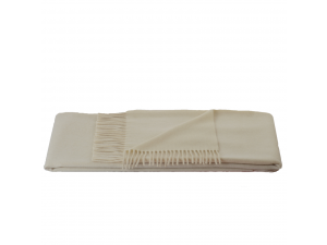 Cashmere lambswool blanket with fringe - NATURAL