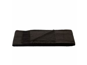 Cashmere lambswool blanket with fringe - BROWN