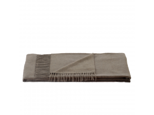 Cashmere lambswool blanket with fringe - LIGHT BROWN