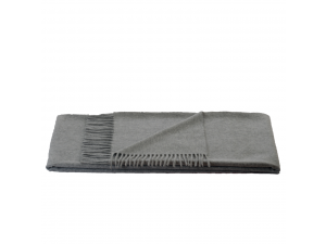 Cashmere lambswool blanket with fringe - LIGHT GREY