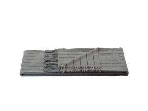 Cashmere Sheep Woll Blanket - LIGHT GREY Stripes