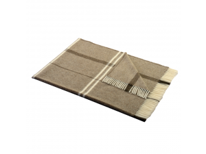 Sheep wool blanket - BEIGE Checkered