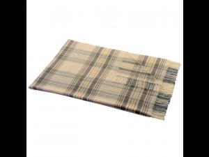 Lambswool blanket with fringe - BEIGE